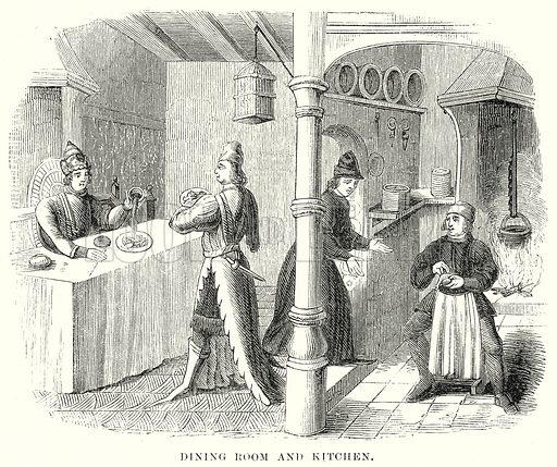 Dining Room and Kitchen. Illustration from unidentified late 19th century history of England.