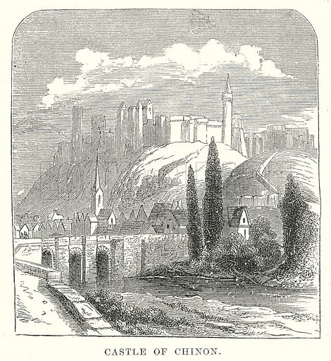 Castle of Chinon. Illustration from unidentified late 19th century history of England.