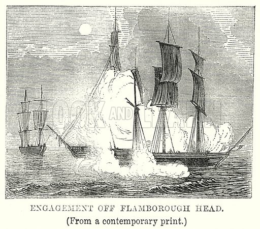 Engagement off Flamborough Head. Illustration from The Book of Days (W R Chambers, c 1870).