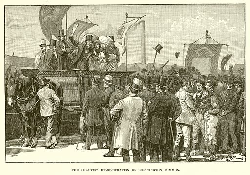 The Chartist Demonstration on Kennington Common. Illustration from The Life and Times of Queen Victoria by Robert Wilson (Cassell, 1893).