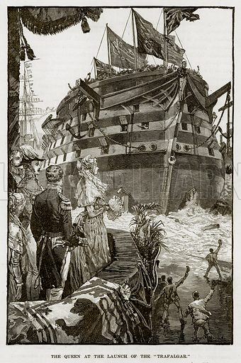 """The Queen at the Launch of the """"Trafalgar."""" Illustration from The Life and Times of Queen Victoria by Robert Wilson (Cassell, 1893)."""
