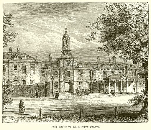 West Front of Kensington Palace. Illustration from The Life and Times of Queen Victoria by Robert Wilson (Cassell, 1893).