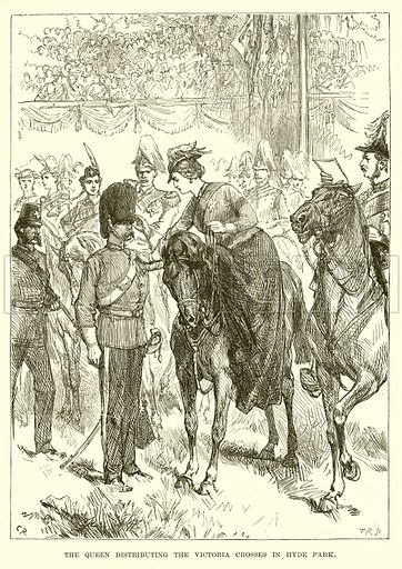 The Queen Distributing the Victoria Crosses in Hyde Park. Illustration from The Life and Times of Queen Victoria by Robert Wilson (Cassell, 1893).