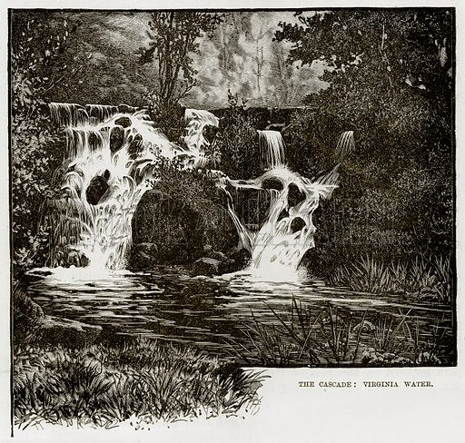 The Cascade: Virginia Water. Illustration from The Life and Times of Queen Victoria by Robert Wilson (Cassell, 1893).