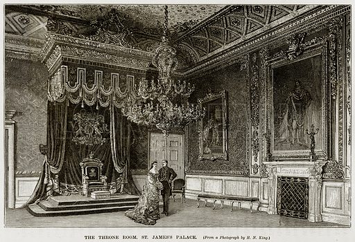 The Throne Room, St. James Palace. Illustration from The Life and Times of Queen Victoria by Robert Wilson (Cassell, 1893).