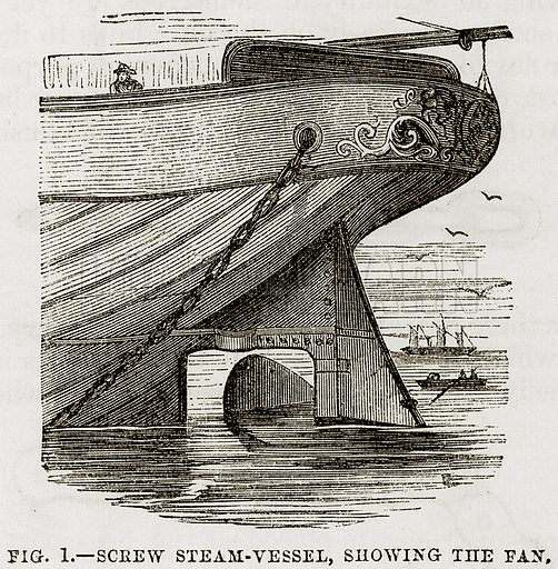 Screw Steam-Vessel, showing the Fan. Illustration from The Boy's Book of Industrial Information by Elisha Noyce (Ward & Lock, 1859).