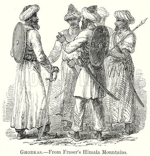 Ghorkas. Illustration from The Comprehensive History of England by Charles Macfarlance et al (Gresham Publishing, 1902).