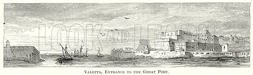Valetta, Entrance to the Great Port. Illustration from The Comprehensive History of England by Charles Macfarlance et al (Gresham Publishing, 1902).