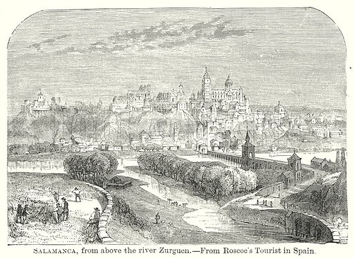 Salamanca, from above the River Zurguen. Illustration from The Comprehensive History of England by Charles Macfarlance et al (Gresham Publishing, 1902).