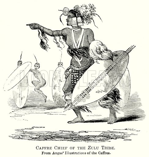 Caffre Chief of the Zulu Tribe. Illustration from The Comprehensive History of England by Charles Macfarlance et al (Gresham Publishing, 1902).