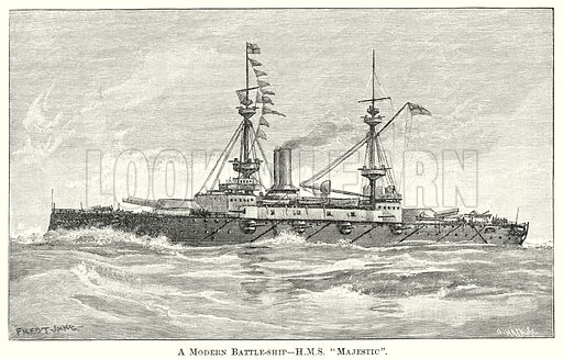 "A Modern Battle-Ship – HMS""Majestic"". Illustration from The Comprehensive History of England by Charles Macfarlance et al (Gresham Publishing, 1902)."