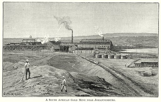 A South African Gold Mine near Johannesburg. Illustration from The Comprehensive History of England by Charles Macfarlance et al (Gresham Publishing, 1902).
