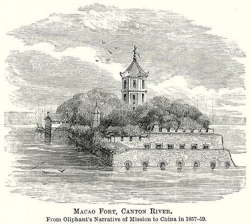 Macao Fort, Canton River. Illustration from The Comprehensive History of England by Charles Macfarlance et al (Gresham Publishing, 1902).