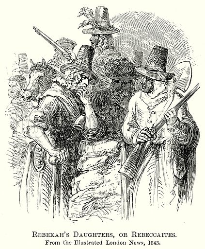 Rebekah's Daughters, or Rebeccaites. Illustration from The Comprehensive History of England by Charles Macfarlance et al (Gresham Publishing, 1902).