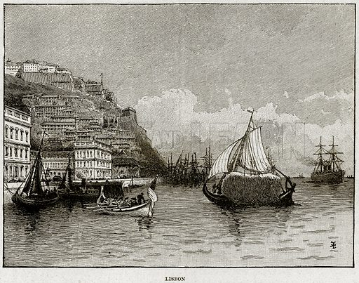 Lisbon. Illustration from Cassell's History of England (special edition, AW Cowan, c 1890).