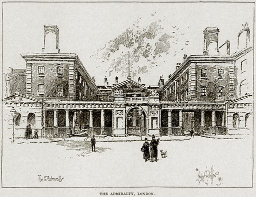 The Admiralty, London. Illustration from Cassell's History of England (special edition, AW Cowan, c 1890).