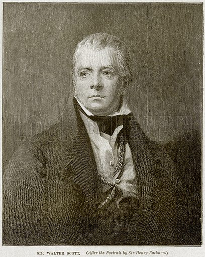 Sir Walter Scott. Illustration from Cassell's History of England (special edition, AW Cowan, c 1890).
