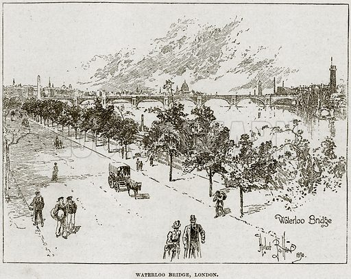 Waterloo Bridge, London. Illustration from Cassell's History of England (special edition, A W Cowan, c 1890).