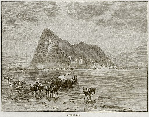 Gibraltar. Illustration from Cassell's History of England (special edition, AW Cowan, c 1890).