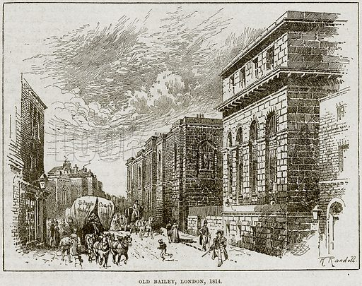 Old Balley, London, 1814. Illustration from Cassell's History of England (special edition, AW Cowan, c 1890).