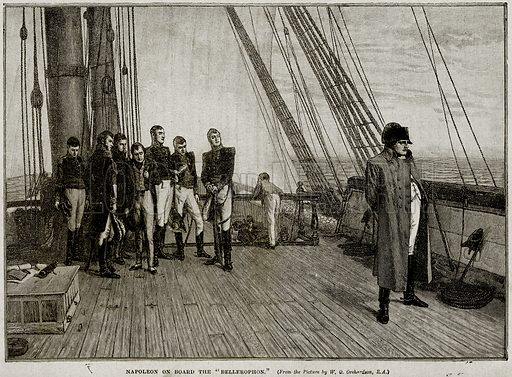 """Napoleon on Board the """"Bellerophon."""" Illustration from Cassell's History of England (special edition, AW Cowan, c 1890)."""