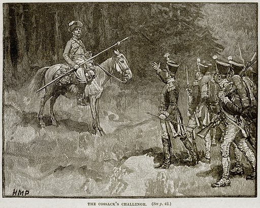 The Cossack's Challenge. Illustration from Cassell's History of England (special edition, AW Cowan, c 1890).