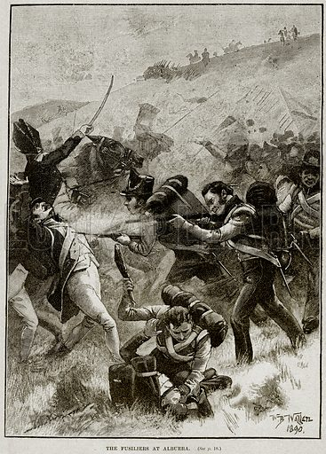 The Fusiliers at Albuera. Illustration from Cassell's History of England (special edition, AW Cowan, c 1890).