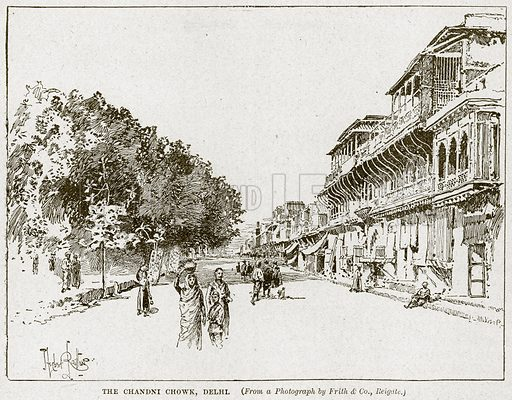 The Chandni Chowk, Delhi. Illustration from Cassell's History of England (special edition, AW Cowan, c 1890).