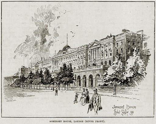 Somerset House, London. Illustration from Cassell's History of England (special edition, AW Cowan, c 1890).