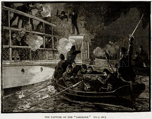 "The Capture of the ""Caroline."" Illustration from Cassell's History of England (special edition, AW Cowan, c 1890)."