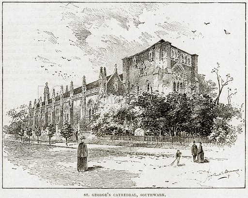 St George's Cathedral, Southwark. Illustration from Cassell's History of England (special edition, AW Cowan, c 1890).