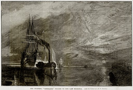 """The fighting """"Temeraire"""" tugged to her last Moorings. Illustration from Cassell's History of England (special edition, AW Cowan, c 1890)."""