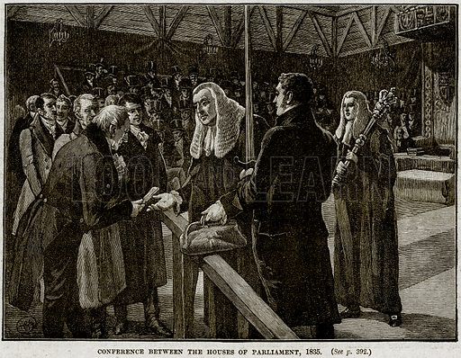 Conference between the Houses of Parliament, 1835. Illustration from Cassell's History of England (special edition, AW Cowan, c 1890).