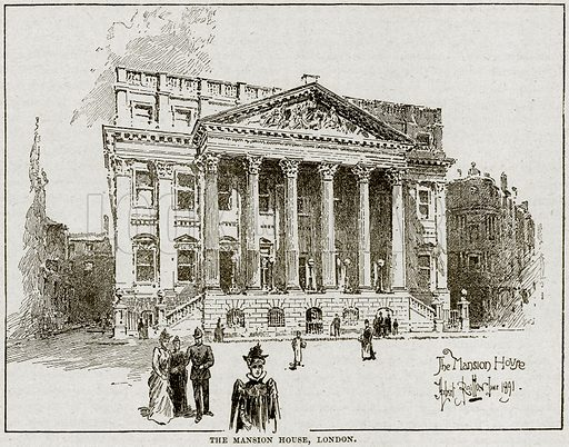 The Mansion House, London. Illustration from Cassell's History of England (special edition, AW Cowan, c 1890).