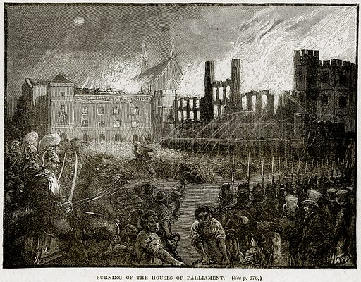 Burning of the House of Parliament. Illustration from Cassell's History of England (special edition, AW Cowan, c 1890).