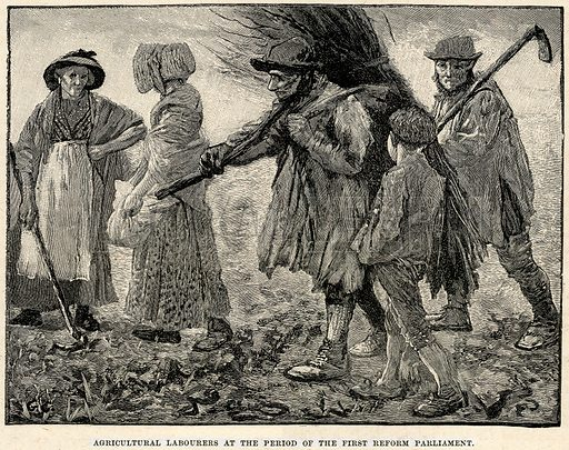 Agricultural Labourers at the Period of the First Reform Parliament. Illustration from Cassell's History of England (special edition, AW Cowan, c 1890).