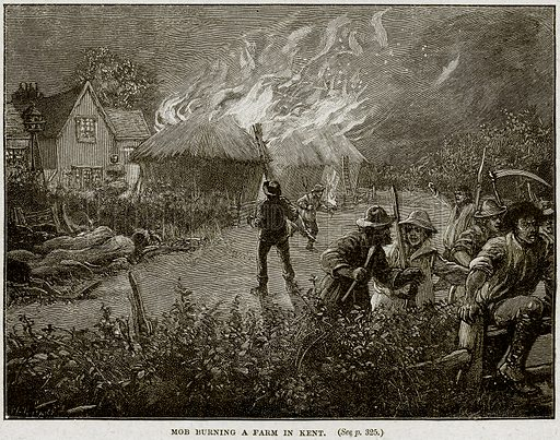 Mob burning a Farm in Kent. Illustration from Cassell's History of England (special edition, AW Cowan, c 1890).