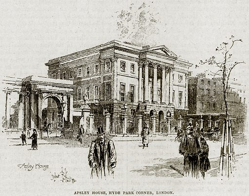 Apsley House, Hyde Park Corner, London. Illustration from Cassell's History of England (special edition, AW Cowan, c 1890).