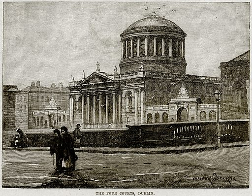 The Four Courts, Dublin. Illustration from Cassell's History of England (special edition, AW Cowan, c 1890).
