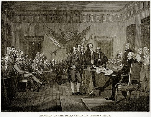 Adoption of the Declaration of Independence. Illustration from Columbus and Columbia (Manufacturers' Book Co, c 1893).