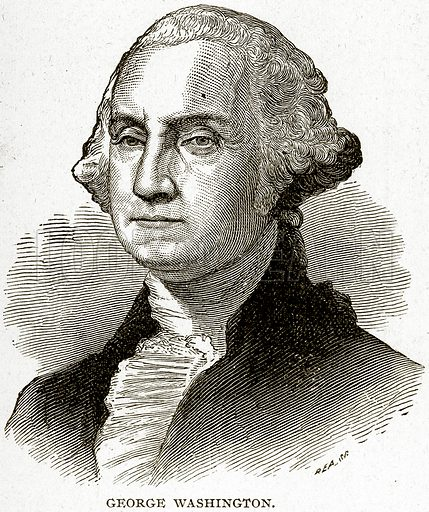George Washington. Illustration from Columbus and Columbia (Manufacturers' Book Co, c 1893).