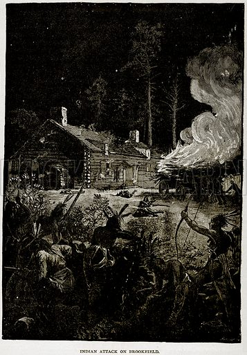 Indian Attack on Brookfield. Illustration from Columbus and Columbia (Manufacturers' Book Co, c 1893).