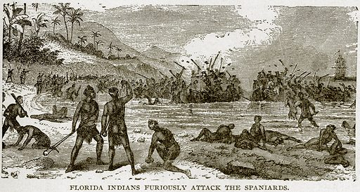 Florida Indians Furiously Attack the Spaniards. Illustration from Columbus and Columbia (Manufacturers' Book Co, c 1893).