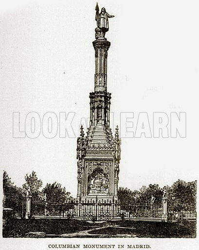 Columbian Monument in Madrid. Illustration from Columbus and Columbia (Manufacturers' Book Co, c 1893).