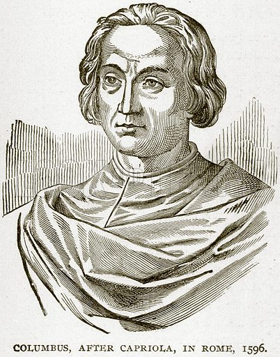Columbus, after Capriola, in Rome, 1596. Illustration from Columbus and Columbia (Manufacturers' Book Co, c 1893).
