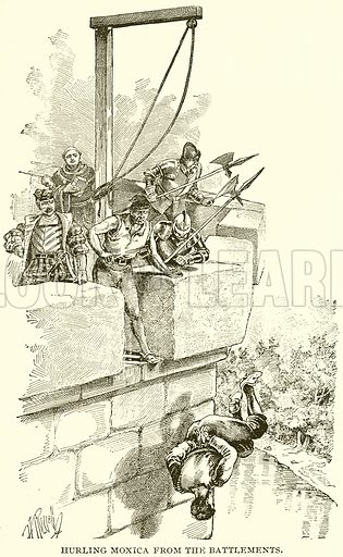 Hurling Moxica from the Battlements. Illustration from Columbus and Columbia (Manufacturers' Book Co, c 1893).