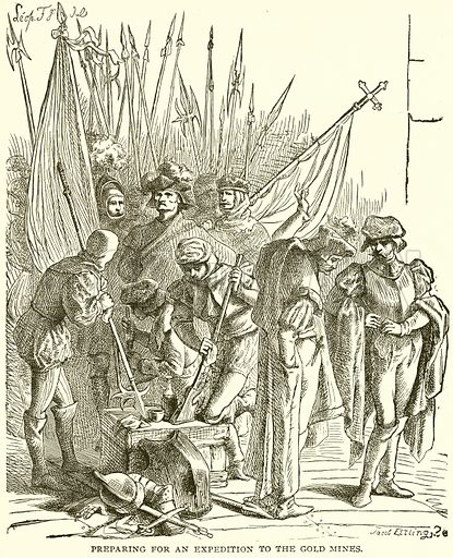 Preparing for an Expedition to the Gold Mines. Illustration from Columbus and Columbia (Manufacturers' Book Co, c 1893).