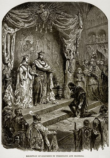 Reception of Columbus by Ferdinand and Isabella. Illustration from Columbus and Columbia (Manufacturers' Book Co, c 1893).