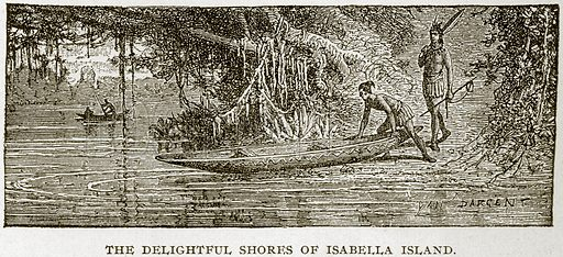 The Delightful Shores of Isabella Island. Illustration from Columbus and Columbia (Manufacturers' Book Co, c 1893).