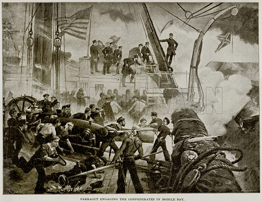 Farragut engaging the Confederates in Mobile Bay. Illustration from Columbus and Columbia (Manufacturers' Book Co, c 1893).